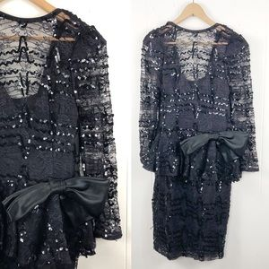 Vtg 80s Sequins Dress Bow Poofy Long Sleeves Lace